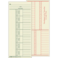 "Tops 2-Sided Weekly Time Card - 8.25"" x 3.37\"" Sheet Size - Manila - 500 / Box"