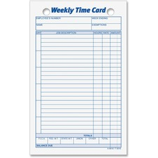 TOP 3016 Tops Weekly Handwritten Time Cards  TOP3016