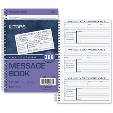 TOP 4006 Tops Spiral Bound While You Were Out Message Book TOP4006