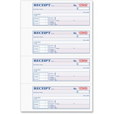 "Tops Manifold Receipt Book - 3 Part - Carbonless - 7.25"" x 2.75\"" Sheet Size - Assorted - 1Each"