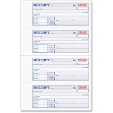 """Tops Manifold Receipt Book - 3 Part - Carbonless - 7.25\"""" x 2.75\"""" Sheet Size - Assorted - 1Each"""