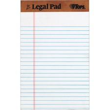 "TOPS Letr - Trim Perforation Jr. Legal Ruled Pads - Jr.Legal - 50 Sheets - Double Stitched - 0.28"" Ruled - 16 lb Basis Weight - 5"" x 8"" - White Paper - Chipboard Cover - Perforated, Hard Cover, Removable - 12 / Dozen"