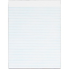 """TOPS Narrow Ruled Glue - top White Writing Pads - Letter - 50 Sheets - Glue - 8 1/2"""" x 11"""" - White Paper - 12 / Pack"""