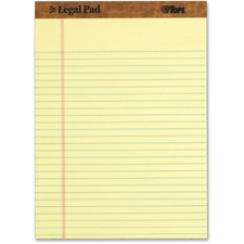 "Tops The Legal Pad Ruled Top Perforated Pad - 50 Sheet - 16lb - 8.5"" x 11.75\"" - 12 / Dozen - Canary Media"