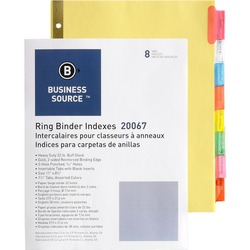 Business Source Insertable Tab Divider Multi Colour - 8 Tab