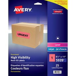 Avery High Visibility Large Neon Red Labels