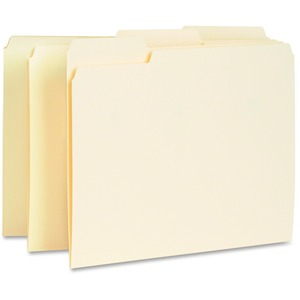 Business Source Interior File Folder - 1/3 Tab Cut on Assorted Position - 100 / Box - 11pt. - Manila