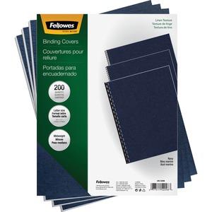 """Fellowes Linen Presentation Covers - Letter, Navy, 200 Pack - Letter - 8 1/2"""" x 11"""" Sheet Size - Linen - Navy - 200 / Pack"""