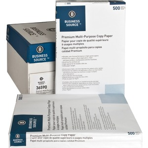 "#36590 - Business Source Multipurpose Copy Paper - 11"" x 17"" - 20lb - [tabloid] 92 GE/112 ISO Brightness - 2500 / Carton - White"