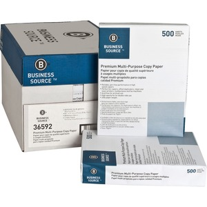 "#36592 - Business Source Multipurpose Paper - Letter - 8.5"" x 11"" - 20lb - 3 x Hole Punched - 92 GE/102 ISO (D65) Brightness - 10 / Carton - White"