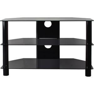 B-Tech Ventry 800mm 3 Shelf Tempered Black Glass AV Stand