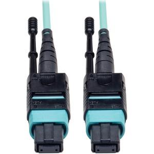"Tripp Lite 5M MTP / MPO Patch Cable 12 Fiber 40GbE Aqua OM3 Plenum 16ft 16' 5 Meter - 12 Fiber,40GbE, 40GBASE-SR4,OM3 Plenum-rated - Aqua, 5M (16-ft.)"""