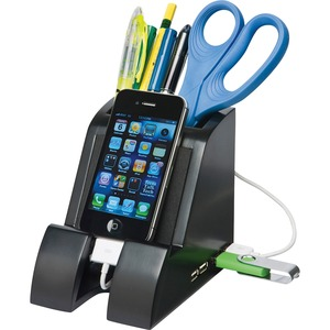 Victor Smart Charge Pencil Cup w/USB Hub, Black