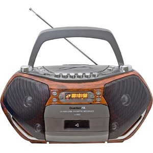 QFX Portable CD/MP3 Player with USB Radio Cassette Recorder - 1 x Disc Integrated - Wood LCD - CD-DA, MP3 - SD - USB - Auxiliary Input