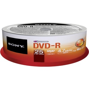 Sony 25DMR47PP DVD Recordable Media - DVD-R - 16x - 4.70 GB - 25 Pack Spindle - 120mm - Printable - Inkjet Printable - 2 Hour Maximum Recording Time