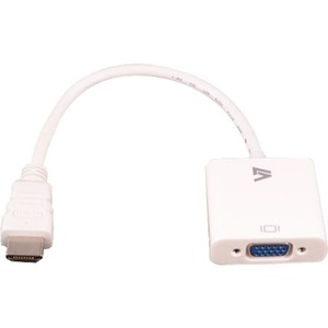 "V7 6"" HDMI Male Digital Audio/Video to  HD-15 Female VGA, White"
