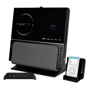 iSymphony V1BLUE Bluetooth Stereo System With Wireless Universal Dock For iPod