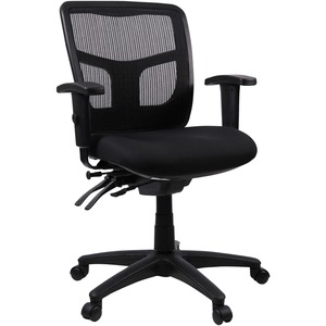 Lorell Managerial Swivel Mesh Mid Back Chair   Fabric Black Seat   Black  Back   Black Frame   5 Star