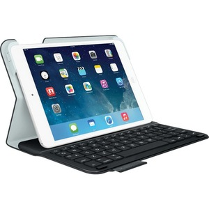 """Logitech Ultrathin Keyboard/Cover Case (Folio) for iPad mini, iPad mini with Retina Display - Carbon Black - Bump Resistant, Scratch Resistant, Spill Resistant, Water Resistant - Fabric - Textured - 8.5"""" Height x 0.8"""" Width x 6.3"""" Depth"""