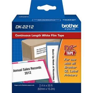 """Brother 2.4"""" x 50ft Black on White Continuous Length Film Tape"""