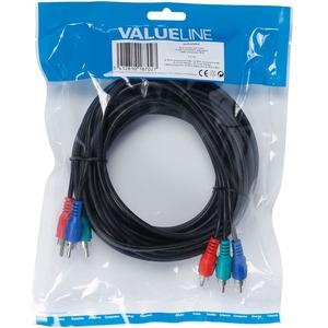 Valueline RCA Component Cable 3x RCA Component Male - 3x RCA Component Male 5.00 m Black