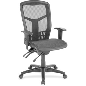 Lorell Executive Mesh High Back Chair   Mesh Black Seat   Steel Black,  Plastic Frame   5 Star Base