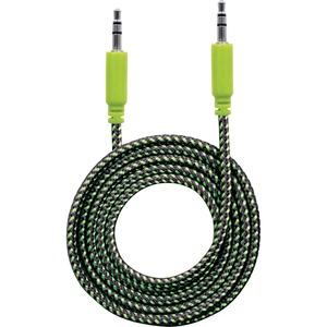 Manhattan 3.5mm Stereo Male to Male, Black/Green, 1 m (3 ft.)