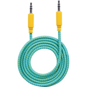 Manhattan 3.5mm Stereo Male to Male, Teal/Yellow, 1.8 m (6 ft.)