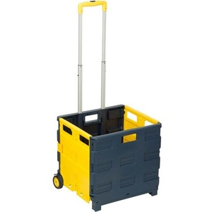 Honey-can-do Folding Utility Cart w/ Telescopic Handle - Blue, Yellow