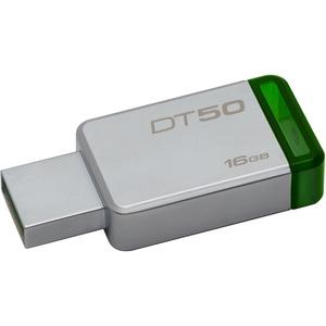 Kingston 16GB USB 3.0 DataTraveler 50 (Metal/Blue) - 16 GB - USB 3.0 - Green - 1 Pack