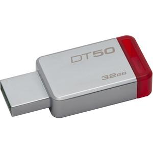 Kingston 32GB USB 3.0 DataTraveler 50 (Metal/Blue) - 32 GB - USB 3.0 - Red - 1 Pack