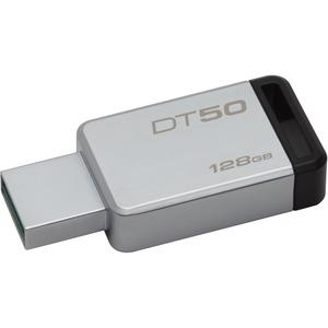Kingston 128GB USB 3.0 DataTraveler 50 (Metal/Blue) - 128 GB - USB 3.0 - Black - 1 Pack