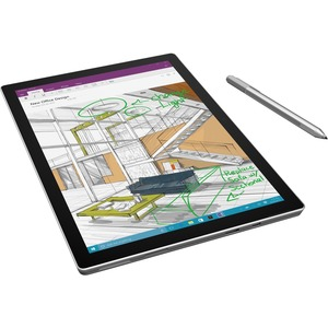"Microsoft Surface Pro 4 Tablet - 12.3"" - 4 GB - Intel Core M (6th Gen) - 128 GB SSD - Windows 10 Pro - 2736 x 1824 - PixelSense - Silver - 3:2 Aspect Ratio - microSD Memory Card Supported - Wireless LAN - Bluetooth - Intel HD Graphics 515 Graphics - Accel"