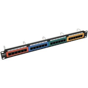 "Tripp Lite 24-Port 1U Rack-Mount 110-Type Color-Coded Patch Panel, RJ45 Ethernet,568B, Cat6 - 24 Port(s) - 24 x RJ-45 - 1U High - 19"" Wide - Rack-mountable"