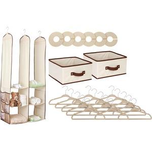 Delta Children 24 Piece Nursery Storage Set, Beige - Closet Storage - Organization - Includes Everything You Need - Bring Order to Baby's Space