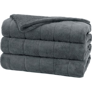 Sunbeam Channeled Microplush Heated Blanket - Queen Size - 10 Hour (Automactic Shut Off) - Dual Control - 10 Heat Settings - Washable, Comfortable, Dryer Safe, LCD Display, Preheat - Slate - Microplush Fabric, Polyester