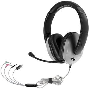Hamilton Buhl Trios Multimedia Headset w/ Steel Reinforced Flexible Mic, Silver - Stereo - Black, Silver - Mini-phone - Wired - Over-the-head - Binaural - Circumaural - 5 ft Cable
