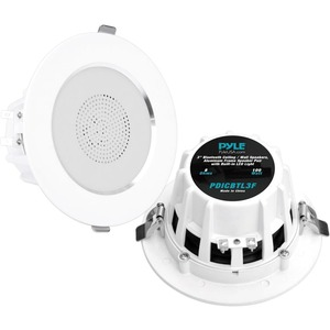 Pyle 3'' Bluetooth Aluminum Frame Ceiling/Wall Speaker Pair w/ Built-in LED