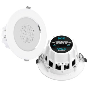 Pyle 4'' 2-Way Aluminum Frame Ceiling/Wall Speaker Pair with Built-in LED Light