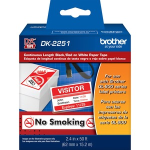 """Brother 2.4"""" x 50ft Black/Red on White Continuous Length Paper Tape"""