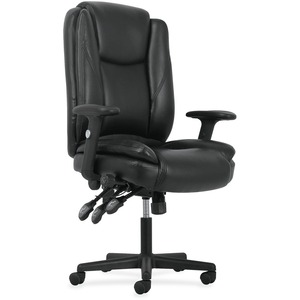 Basyx By HON Leather High Back Task Chair   SofThread Leather Black Seat    SofThread Leather Black B