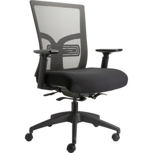 Lorell Mid Back Mesh Chair With Adjustable Lumbar Support   Fabric Seat    5 Star Base   Black   27.5