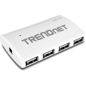 TRENDnet 7-Port High Speed USB Hub w/ Power Adapter - 7 x Type A USB 2.0 USB Downstream, 1 x Type B USB 2.0 USB Upstream - External