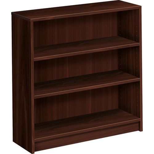 1870 Series Bookcase, Three Shelf, 36w x 11 1/2d x 36 1/8h, Mahogany | by Plexsupply