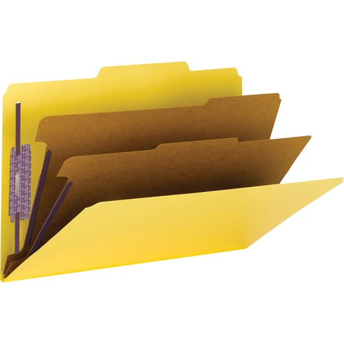 Smead 19034 Yellow Colored Pressboard Classification Folders with SafeSHIELD Fasteners