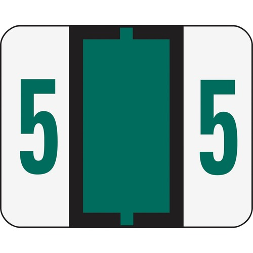 Smead 67375 Dark Green BCCRN Bar-Style Color-Coded Numeric Label - 5