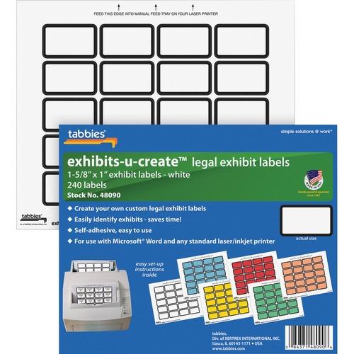 "Tabbies Legal Exhibits-U-Create 1"" Labels | by Plexsupply"