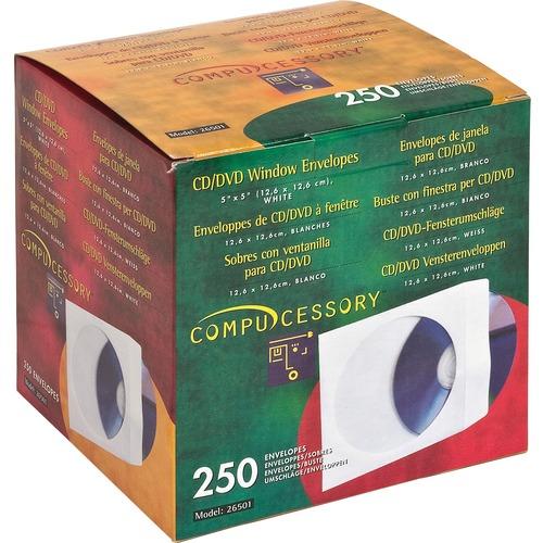 Compucessory CD/DVD White Window Envelopes | by Plexsupply