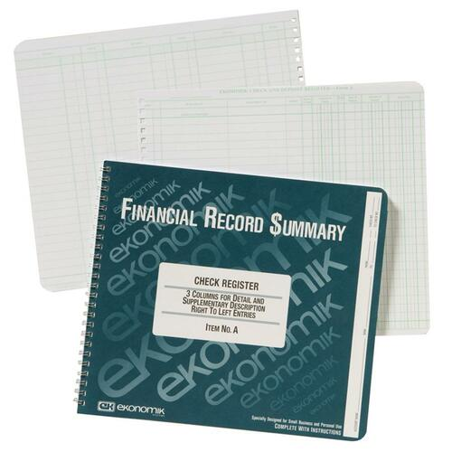 Wirebound Check Register Accounting System, 8 3/4 x 10, 40-Page Book | by Plexsupply