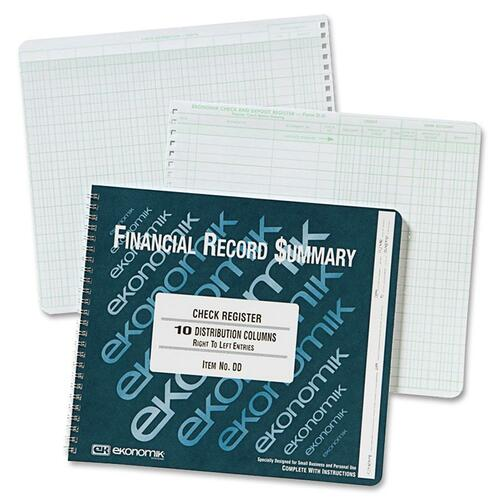 Wirebound Check Register Accounting System, 8 3/4 x 10, 40 Pages | by Plexsupply